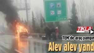 TEM'de araç yangını! Alev alev yandı
